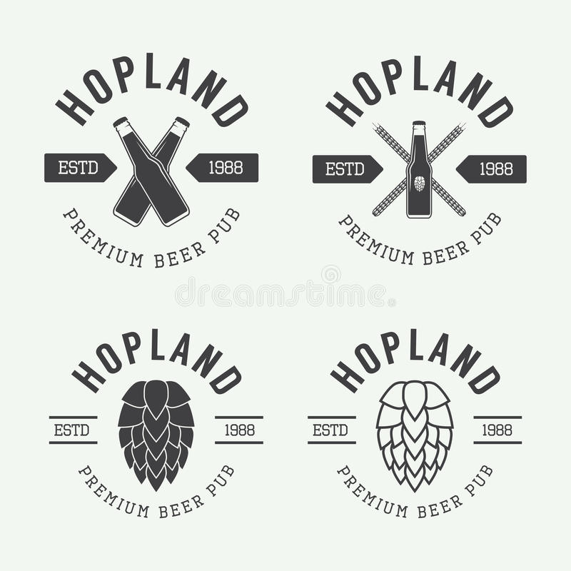 Set of vintage beer and pub logos, labels and emblems with bottles, hops, and wheat. Set of vintage beer and pub vector logos, labels and emblems with bottles stock illustration