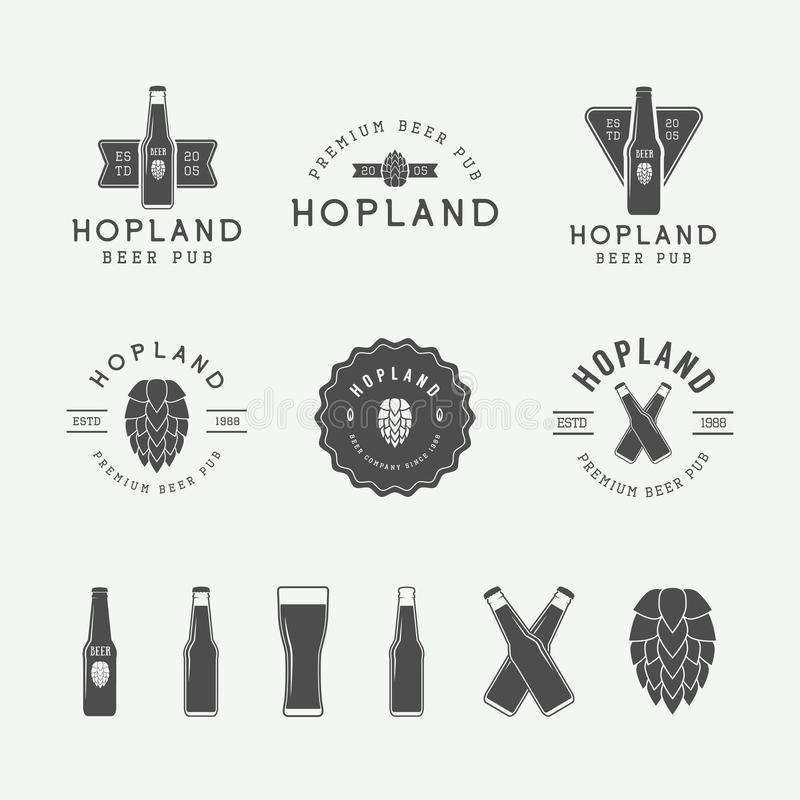 Set of vintage beer and pub logos, labels and emblems with bottles, hops, and wheat. Vector Illustration royalty free illustration