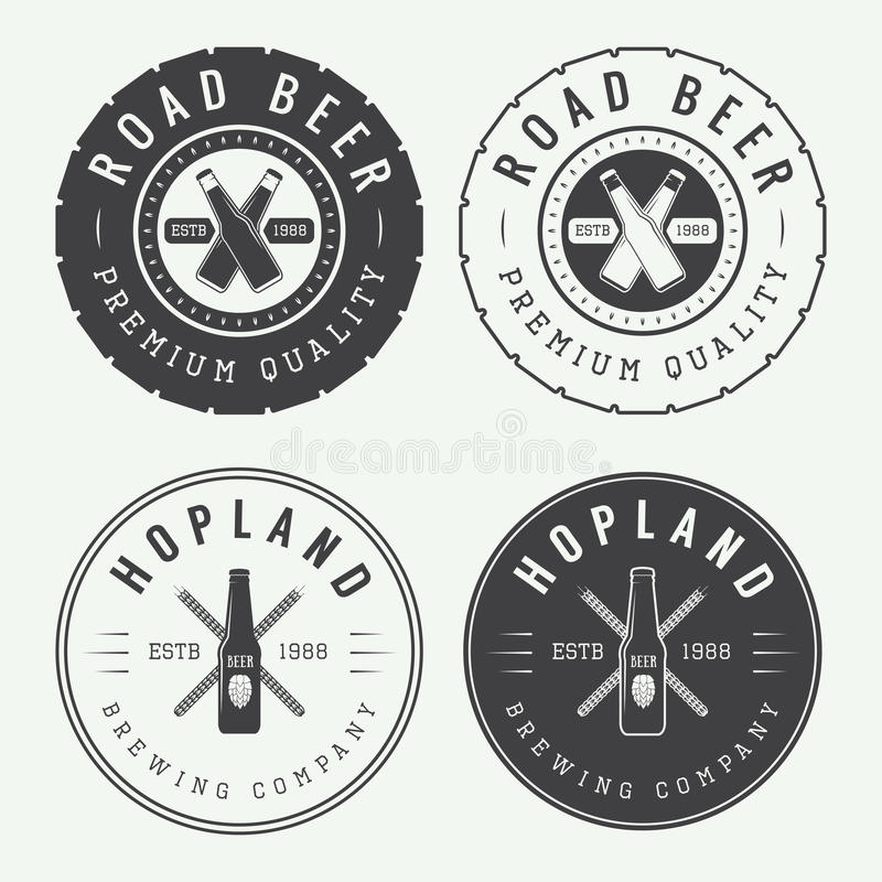 Set of vintage beer and pub logos, labels and emblems with bottles stock illustration