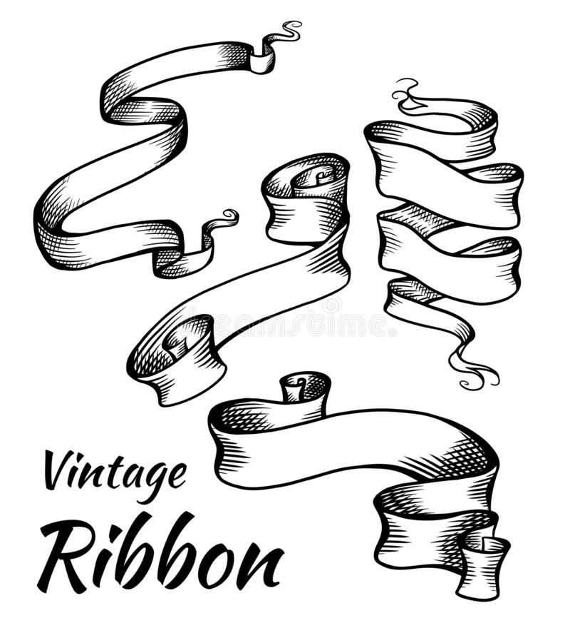Set of vintage black and white ribbons with a hatch. Parchment scrolls. The object is separate from the background. Vector stock illustration