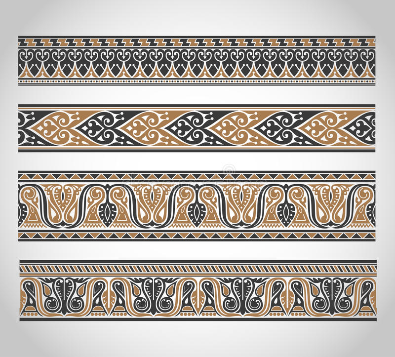 Set of vintage borders stock illustration