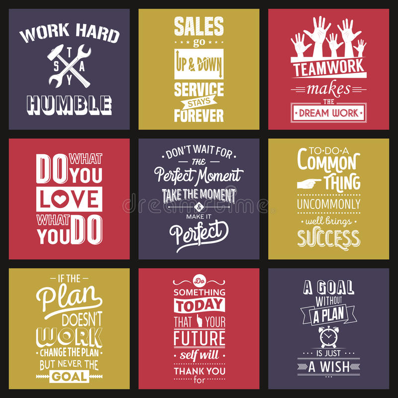 Set of vintage business motivation typographic. Quotes. Vector illustration royalty free illustration