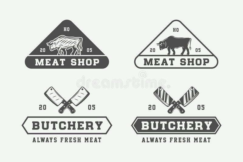 Set of vintage butchery meat, steak or bbq logos, emblems, badge. S, labels. Graphic Art. Vector Illustration vector illustration