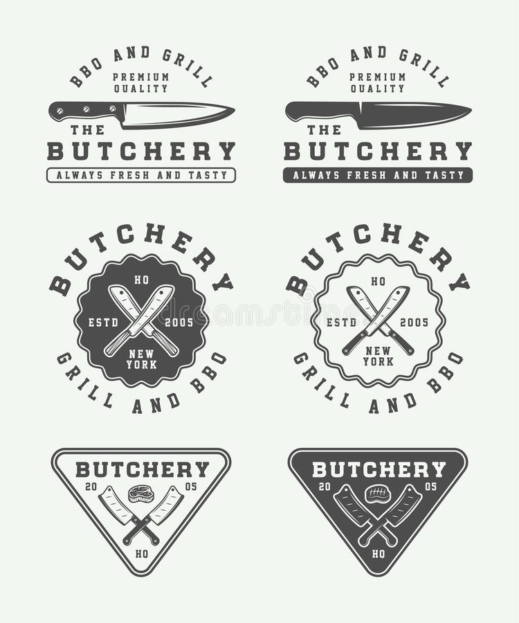Set of vintage butchery meat, steak or bbq logos, emblems, badge. S, labels. Graphic Art. Vector Illustration stock illustration
