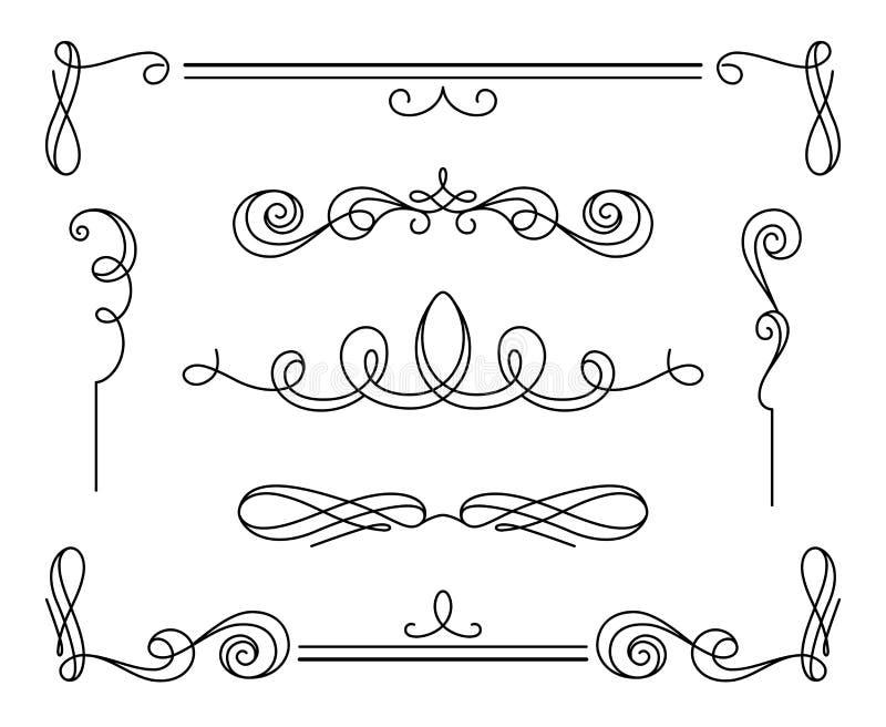 Set of vintage calligraphic vignettes and dividers vector illustration
