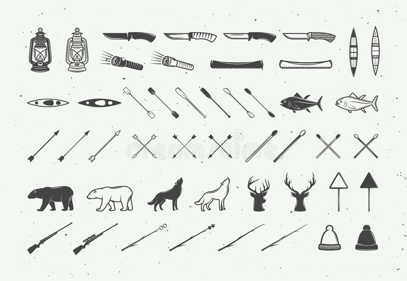 Set of vintage camping outdoor and adventure elements. Can be used logos, badges, labels, emblems, marks and design elements. Graphic Art. Vector Illustration vector illustration
