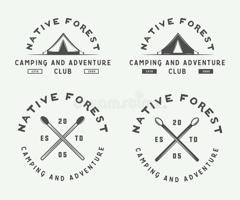 Set of vintage camping outdoor and adventure logos, badges. Labels, emblems, marks and design elements. Graphic Art. Vector Illustration royalty free illustration