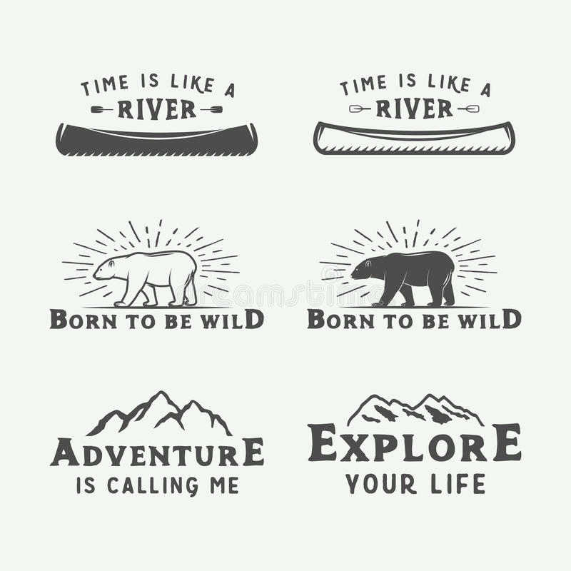 Set of vintage camping outdoor and adventure logos, badges royalty free illustration