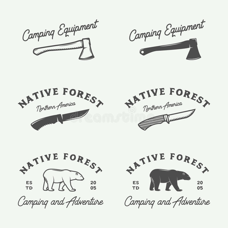 Set of vintage camping outdoor and adventure logos, badges stock illustration