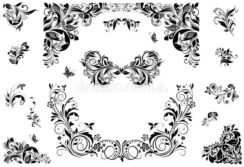 Set of vintage caption (black and white). Collection of vintage caption (black and white royalty free illustration