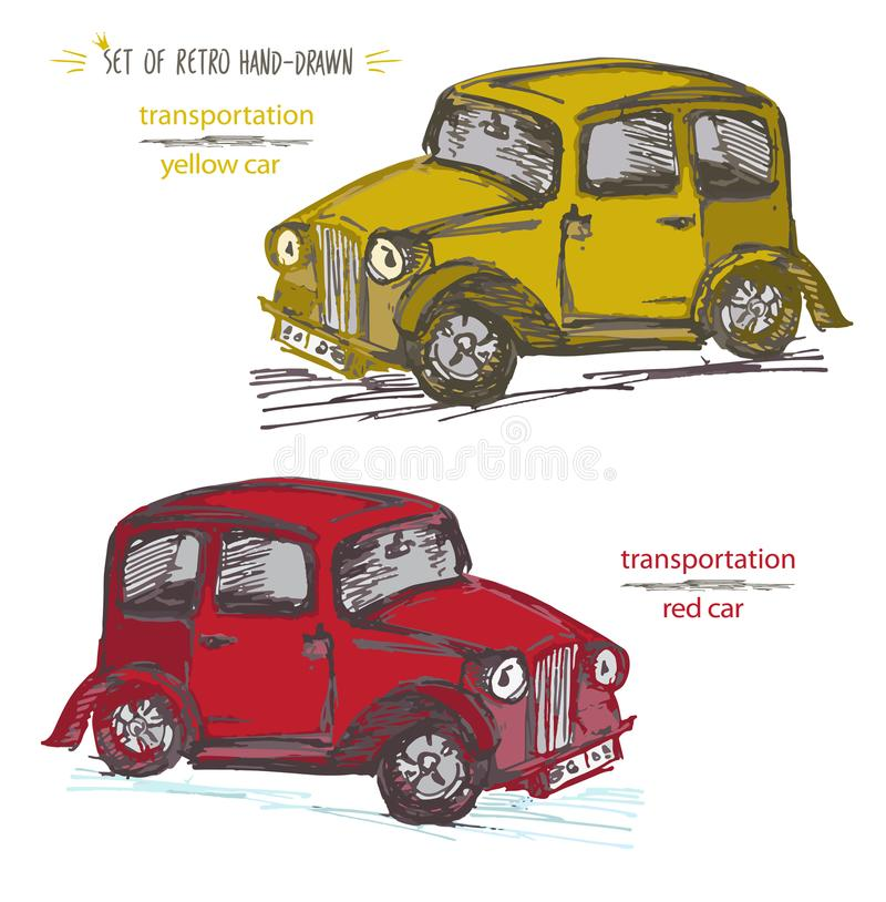 Set vintage car illustration. Retro Hand-drawn taxi cab in Ink brush sketch style isolated on white background. vector illustration