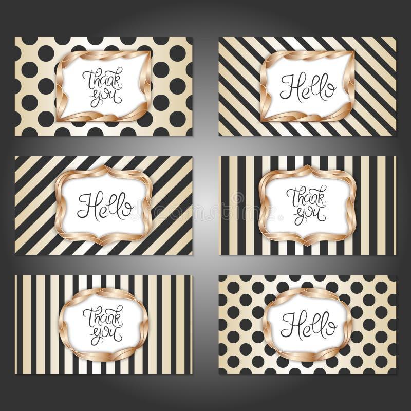 Set of 6 vintage card templates in gold, black and white colors. Collection of 6 vintage card templates in gold, black and white colors. For the wedding royalty free illustration