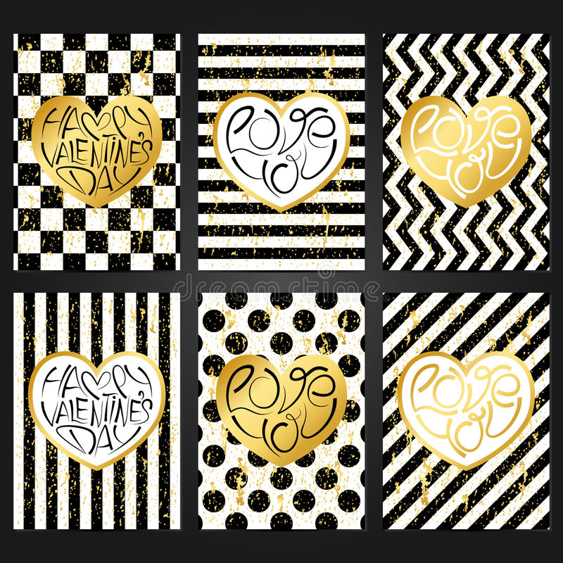 Set Of 6 Vintage Card Templates For Happy Valentines Day. Stock ...