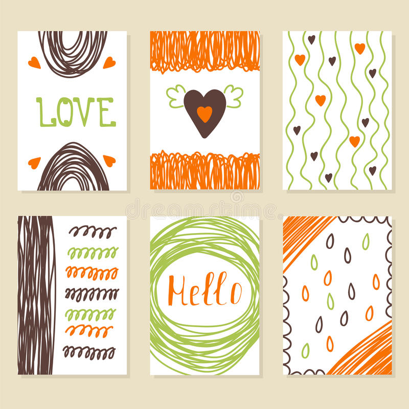 Set of vintage cards with romantic hand drawn textures. Collecti royalty free illustration