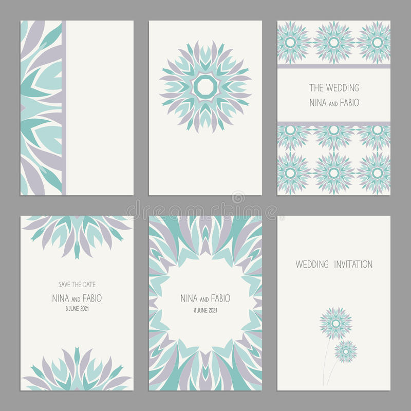 Set Of Vintage Cards Templates Editable. Stock Vector - Illustration ...
