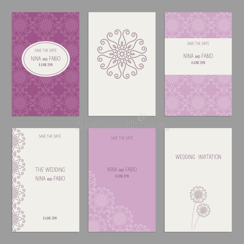 Set Of Of Vintage Cards Templates Editable. Stock Vector ...