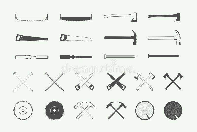 Set of vintage carpentry and mechanic labels, emblems, logo stock illustration