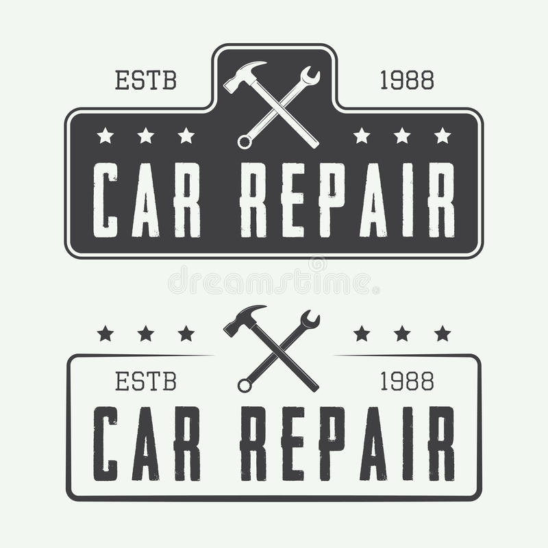 Set of vintage carpentry and mechanic labels, emblems and logo royalty free illustration