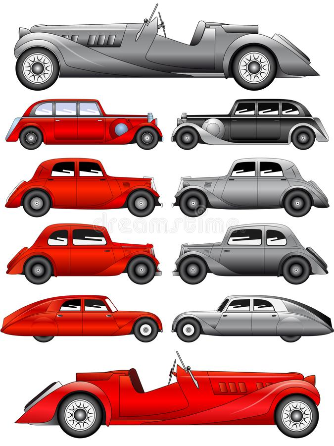 Set of vintage cars. Vector illustration of the set of various vintage cars vector illustration