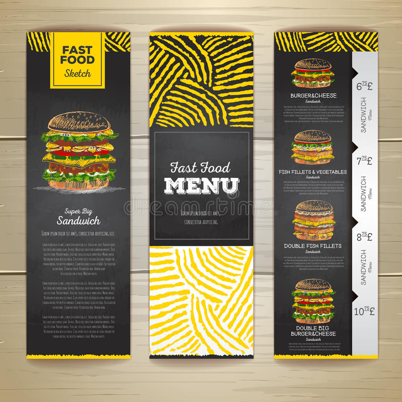 Set of vintage chalk drawing fast food menu banners. Sandwich stock illustration