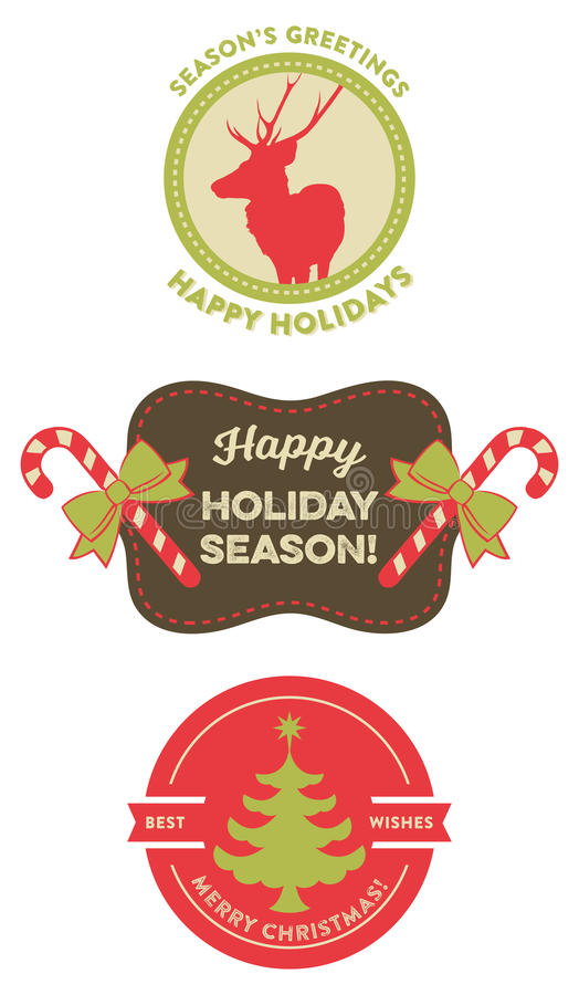 Set of Vintage Christmas Badges vector illustration