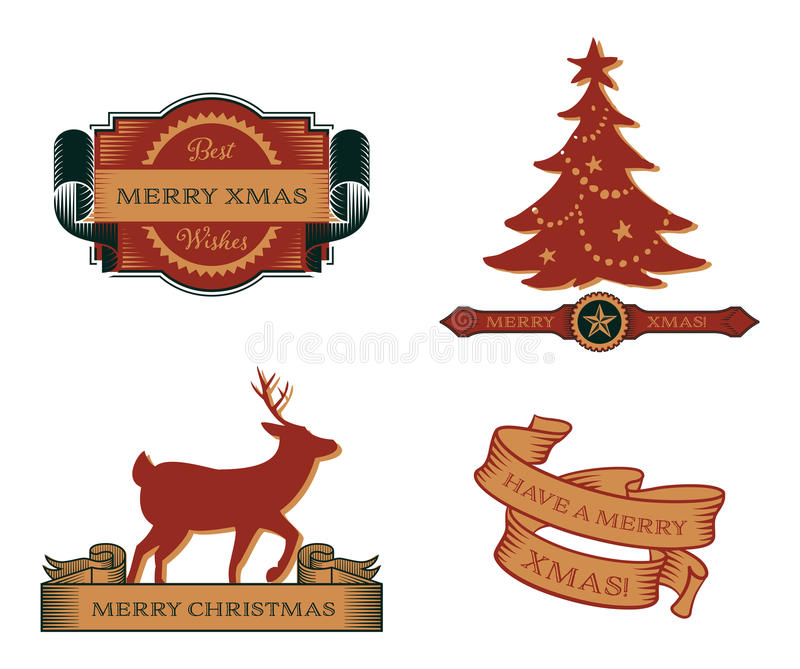 Set of Vintage Christmas Emblems royalty free illustration
