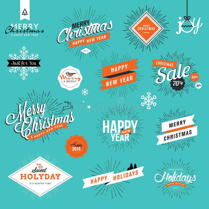 Set of vintage Christmas and New Year's stickers and elements royalty free illustration