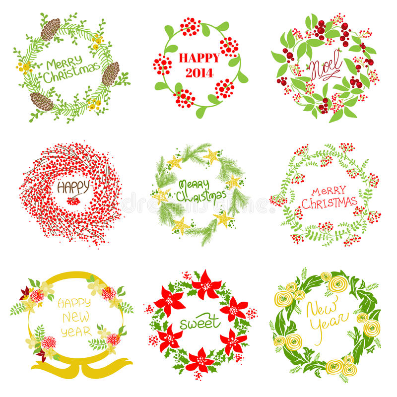 Download Set Of Vintage Christmas And New Year Wreath Royalty Free Stock Photos - Image: 32749998