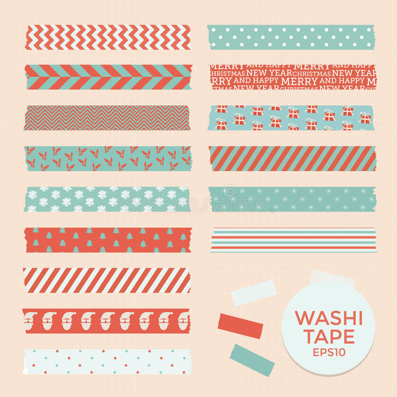Set of vintage christmas washi tapes, ribbons, vector elements, cute design patterns vector illustration