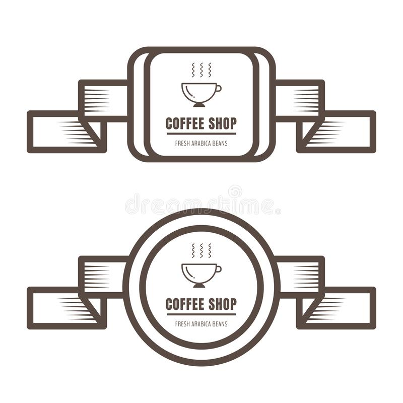 Set of vintage coffee badges and labels brown color on white background. Vector illustration vector illustration
