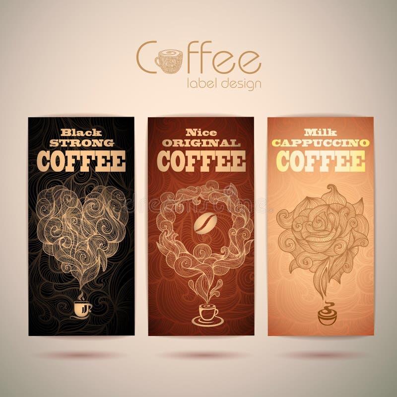 Set of vintage coffee labels vector illustration
