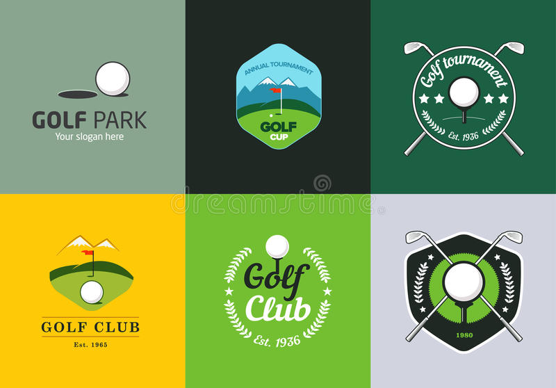 Set of vintage color golf championship logos vector illustration