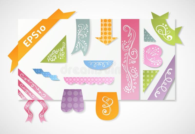 Set of vintage colorful label and ribbon vector illustration