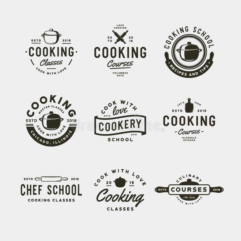 Set of vintage cooking classes logos. retro styled culinary school emblems. vector illustration royalty free illustration