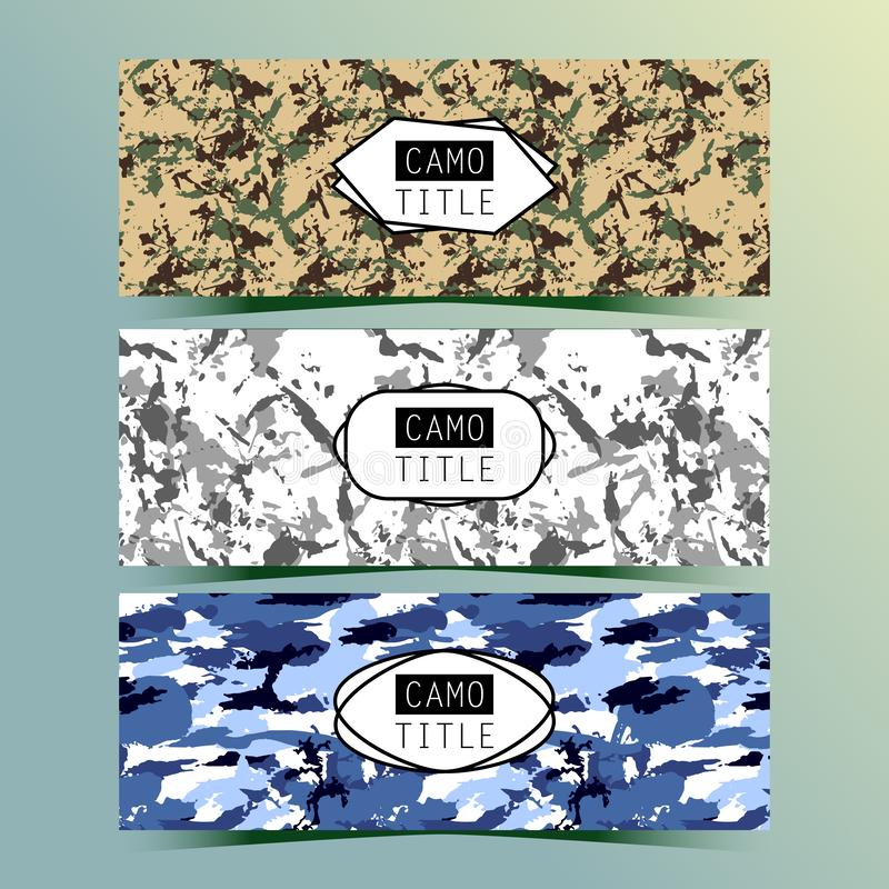 Set of Vintage Creative Banners with Camo, Camouflage Patterns. Retro Presentation for Web site Banner Designs. Pages include seamless pattern under mask vector illustration