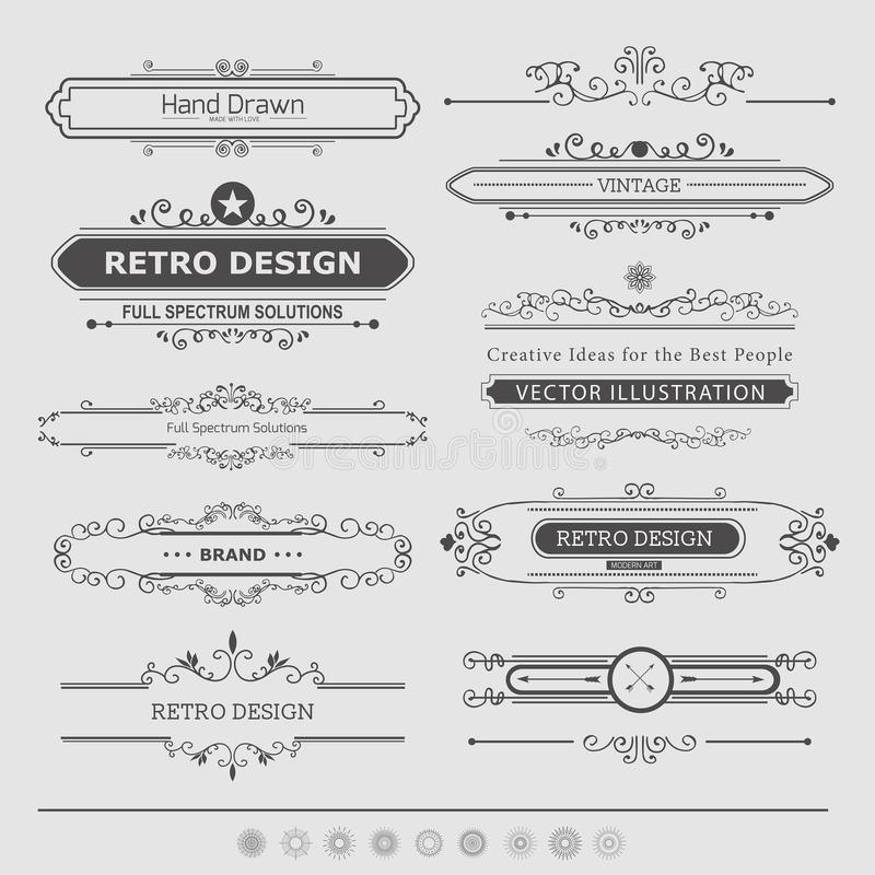 Set of Vintage Decorations Elements royalty free illustration