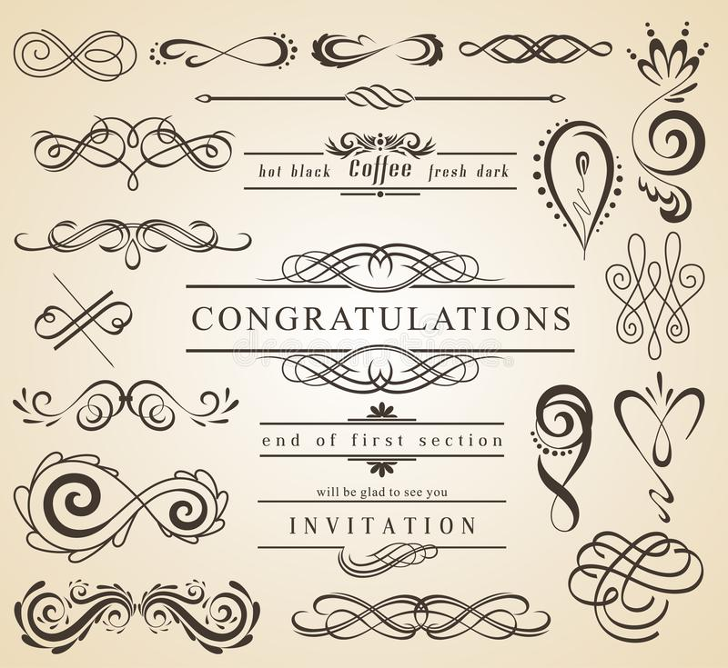 Set of Vintage Decorations Elements.Flourishes Calligraphic Ornaments and Frames with place for your text. Retro Style stock illustration