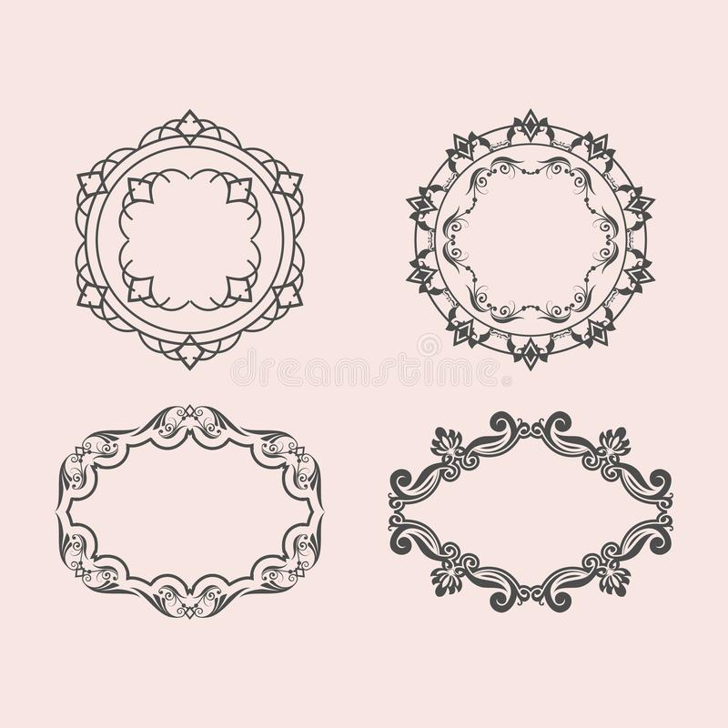 Set of Vintage Decorations Elements. Flourishes Calligraphic Ornaments and Frames,EPS 8,EPS 10 vector illustration