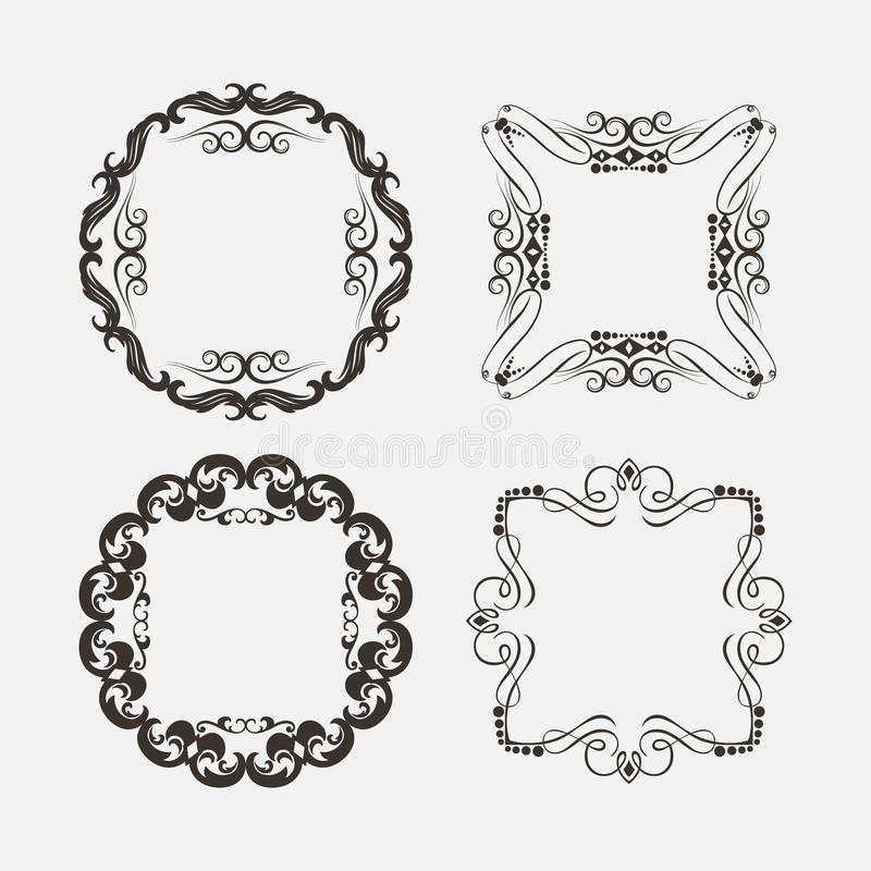 Set of Vintage Decorations Elements. Flourishes Calligraphic Ornaments and Frames,EPS 8,EPS 10. Set of Vintage Decorations Elements. Flourishes Calligraphic royalty free illustration