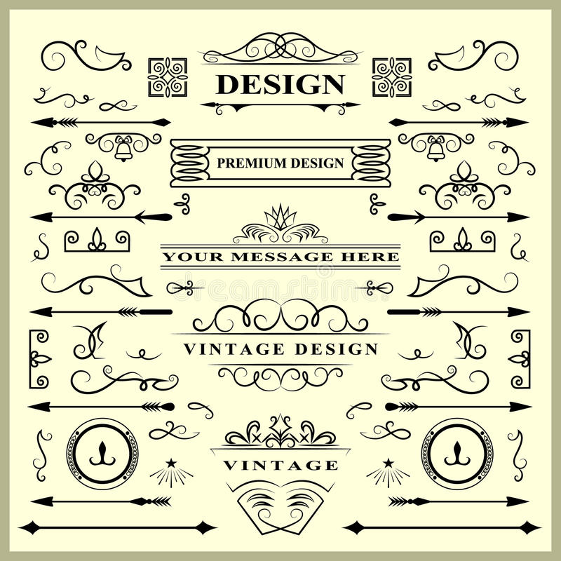Set of Vintage Decorations Elements. Flourishes Calligraphic Ornaments and Frames. Retro Style Design Collection for Invitations, vector illustration