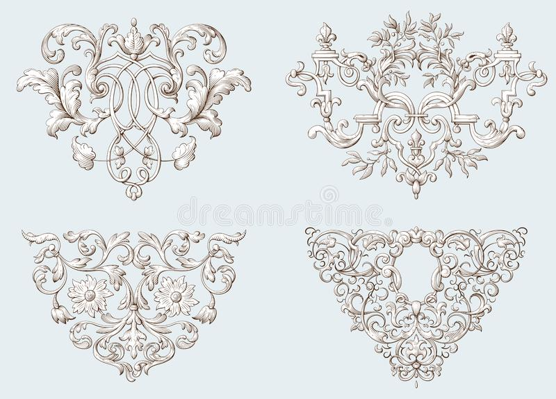 Set of vintage decorative elements with Baroque ornament. Engraving style stock illustration