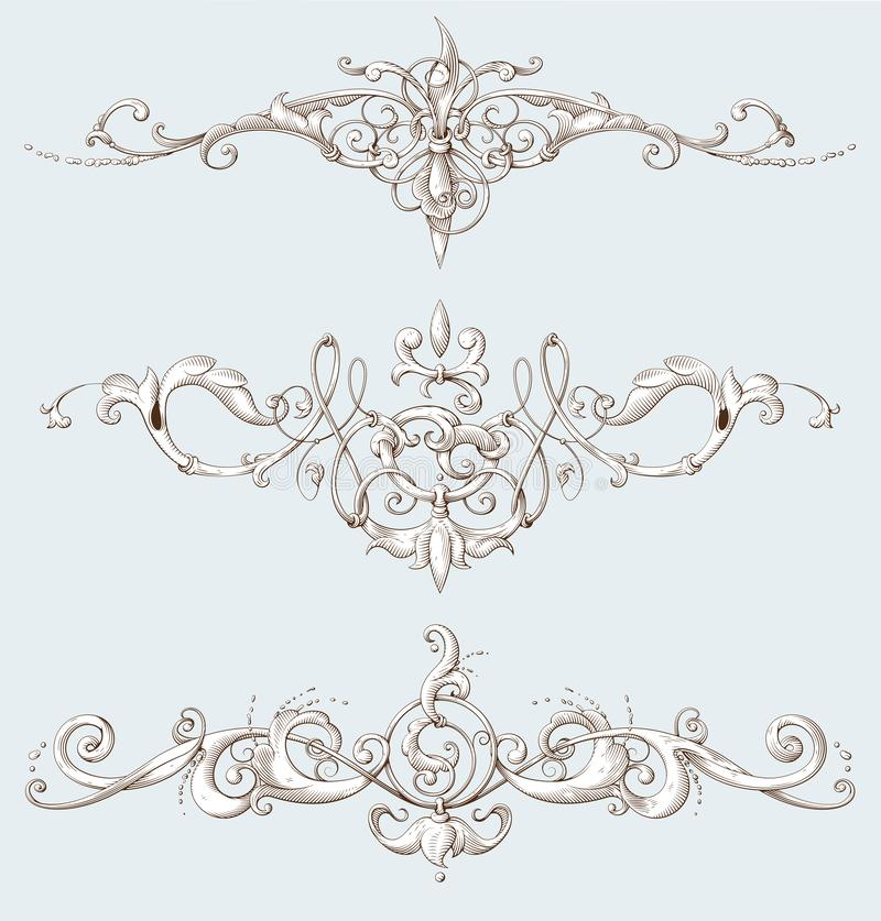 Vintage decorative elements with Baroque ornament. Engraving style vector illustration