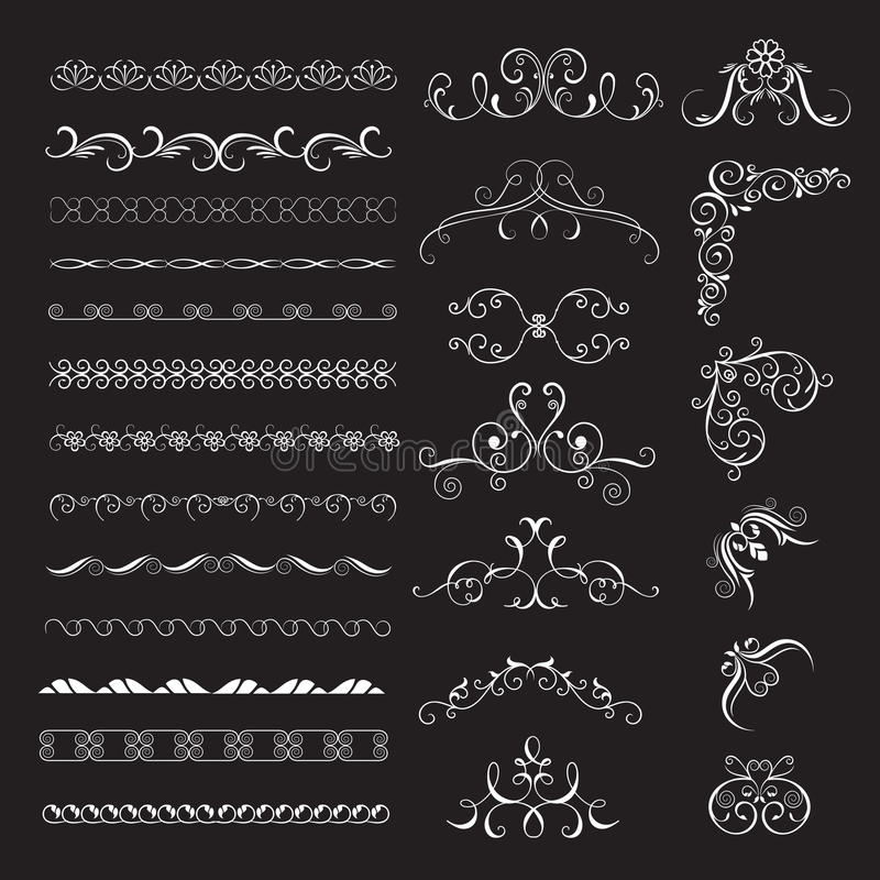 Set of vintage decorative frames. Borders for design frameworks and banners. Can use for birthday card, wedding invitations royalty free illustration