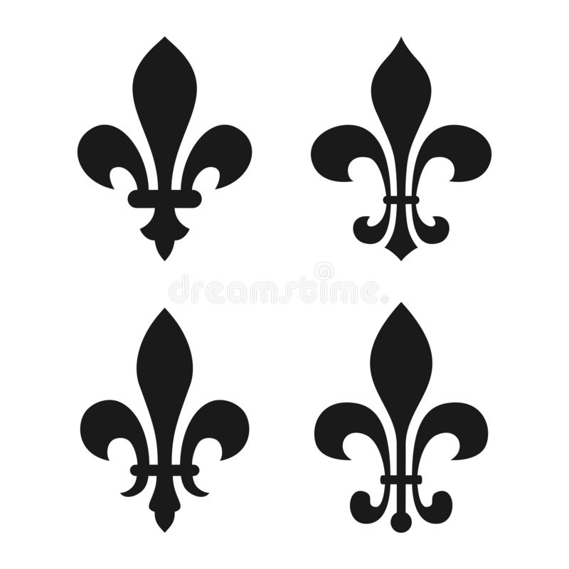 Set vintage decorative heraldic lilys vector illustration