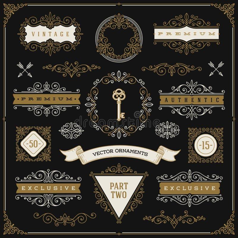 Set of vintage design elements royalty free illustration