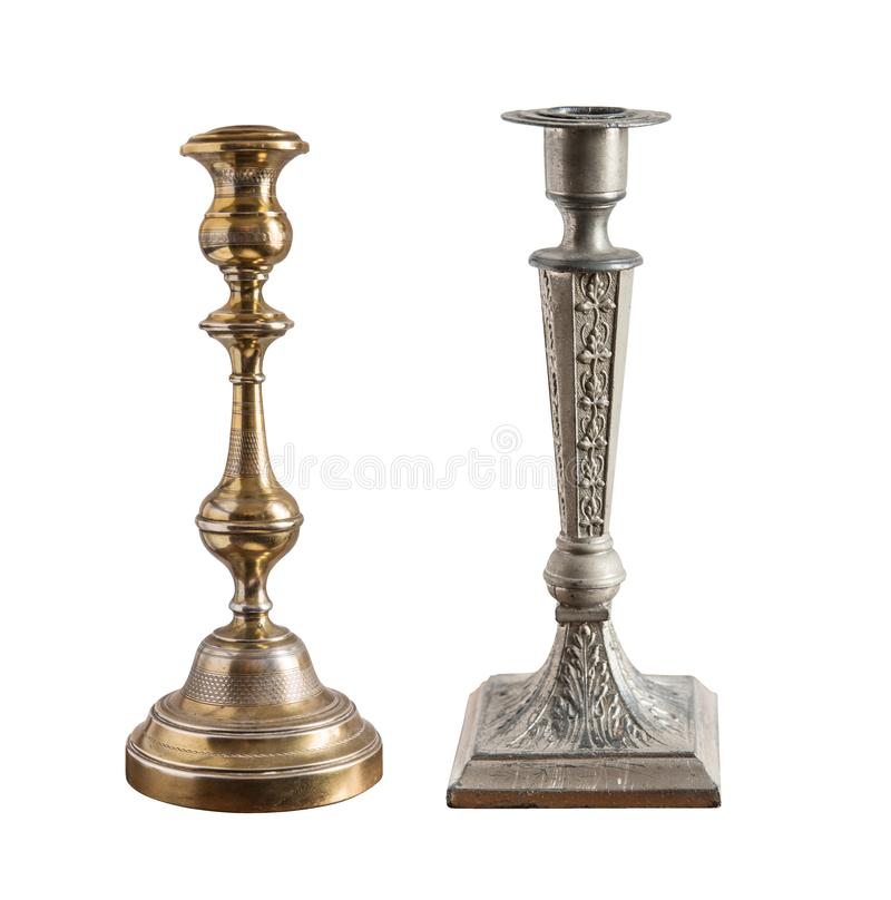 Set of vintage different candelabrum, candle stand, candlestick isolated on white background.  royalty free stock photo