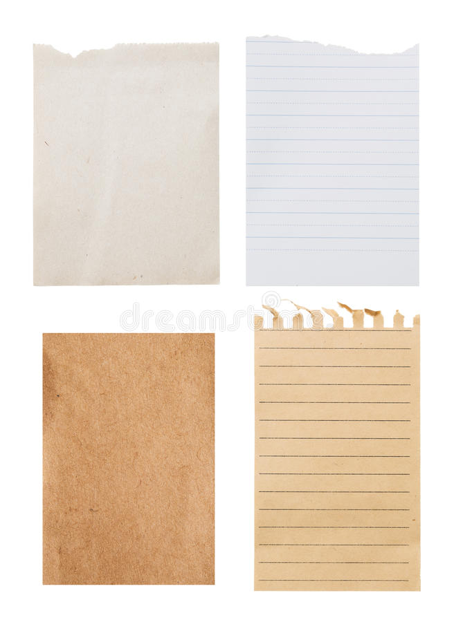 Set vintage different notes sheet. Clipping path included stock photography