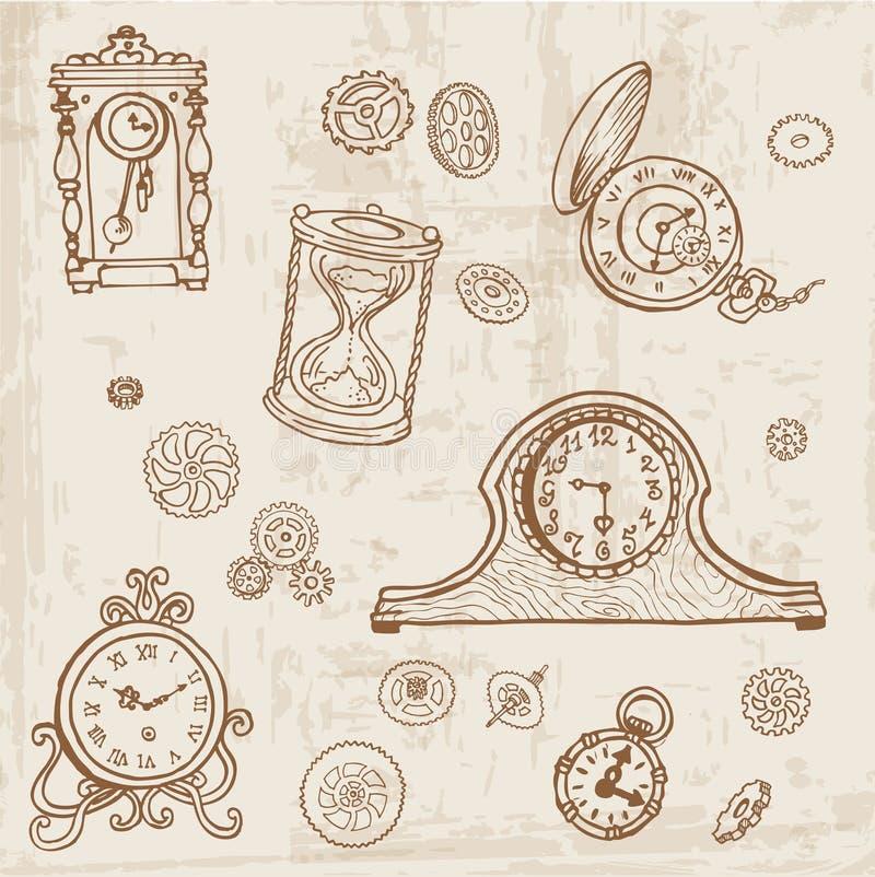 Set of Vintage Doodle Clock