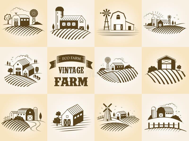 Set of vintage eco farm label, landscapes, buildings, fileds. Retro woodcut style vector illustration. royalty free illustration