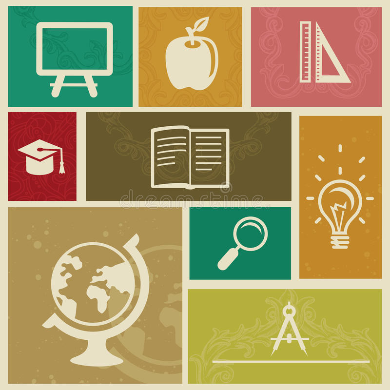 Download Set With Vintage Education Labels Stock Vector - Image: 25823517